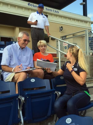 Butch and Sharon Seabrook take part in UWF football's select-a-seat at Blue Wahoos Stadium on Thursday, May 12, 2016.