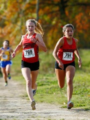 Parsippany's Katherine Castano comes into the finish during the NJSIAA North 2 Group II girls cross country race.