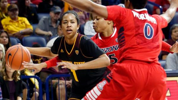 ASU's Arnecia Hawkins scored 19 points Sunday in ASU's 62-47 win at Arizona. ASU remains No. 8 in the AP top 25.