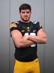 Iowa sophomore outside linebacker Josey Jewell poses