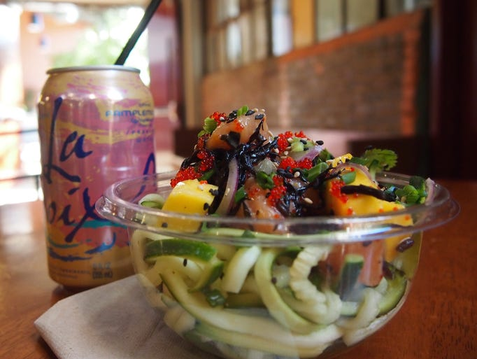 All poke bowls can be ordered with zoodles — zucchini