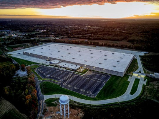 An aerial view of the new Lowe's distribution facility