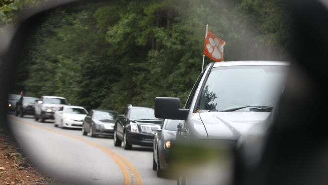 Traffic along West Queen Street between Pendleton and Clemson University was backed up at 9:54 a.m. near T. Ed Garrison Arena in Pendleton as people headed toward a 12:30 p.m. Saturday football game at Clemson University in 2015.