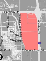 A map shows the borders of a metropolitan district proposed for southwest of Interstate 25 and Harmony Road. The district would fund public improvements needed for development at the site.