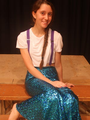 "Hannah Shade is in the lead role of Princess Ariel in Iowa Valley High School's presentation of ""The Little Mermaid."""