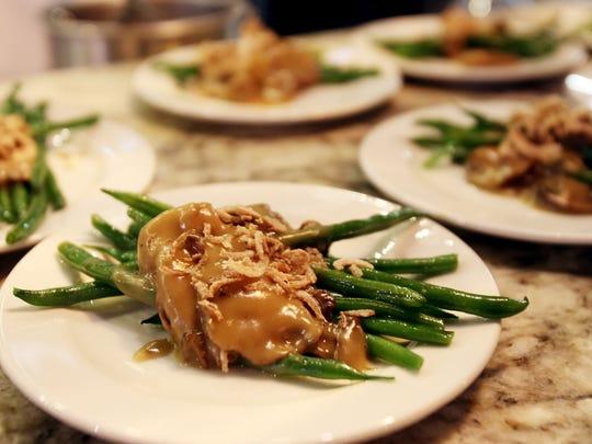 Haricot Verts with Mushroom Gravy and Crispy Shallots.