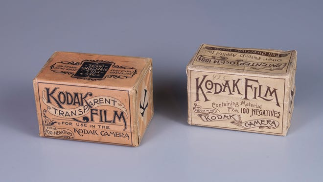 Photo of 1888 and 1889 boxes of Kodak film.