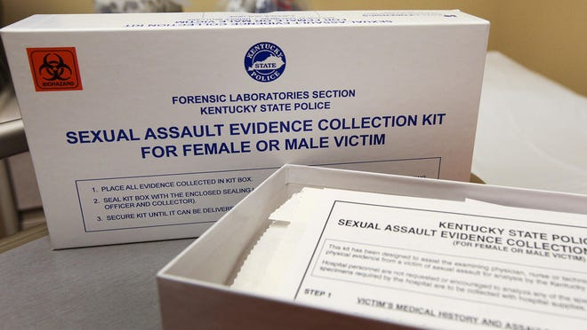 A sexual assault forensic examination kit is displayed in an exam room at University Hospital.