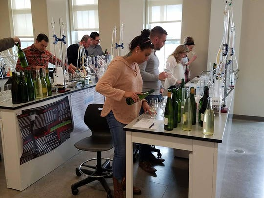 The group works with local wines at the Finger Lakes Viticulture Center.