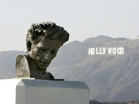 View of a statue of James Dean at the Gr