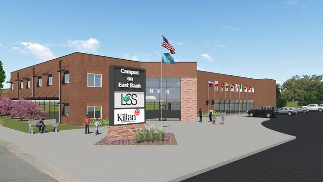 This rendering shows a possible look for the remodeled exterior of The Campus on East Bank, which will be shared space for Kilian Community College and Lutheran Social Services' Center for New Americans.