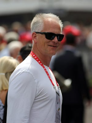 ESPN personality Kenny Mayne is seen in the paddock at Churchill Downs Thursday, May 2, 2013, in Louisville, Ky.