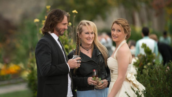 """Rick Springfield, from left, as Greg, Meryl Streep as Ricki and Mamie Gummer as Julie appear in """"Ricki and the Flash."""""""