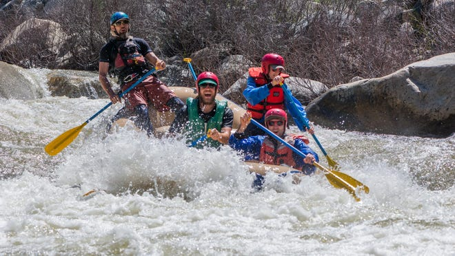 """Good Times Adventures takes a ride over the """"Osterizer,"""" a Class 4 rapid on the Kaweah River."""
