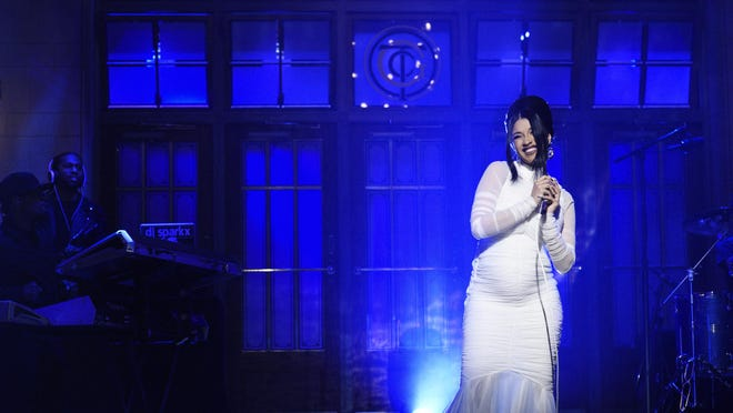 """Cardi B, who performed """"Be Careful"""" as the musical guest on """"Saturday Night Live"""" last weekend, revealed her pregnancy on the show."""