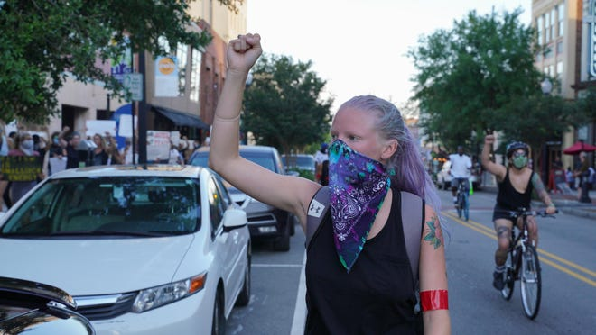 Hundreds protesting police brutality assembled for the seventh night in downtown Wilmington Friday at City Hall.  All of the protesters left peacefully by 9 p.m. June 5, 2020.  [STARNEWS FILE PHOTO