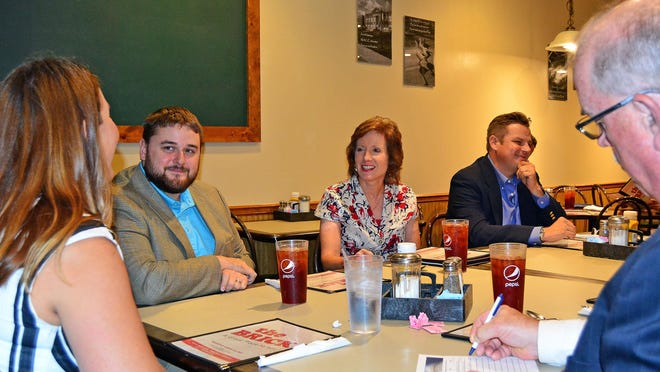 U.S. Rep. Vicky Hartzler, third from left, takes part in a lunch meeting Monday with the Moberly Area Economic Development Corporation at The Brick restaurant in Moberly. She was at the meeting to discuss pending COVID-19 pandemic-related legislation.