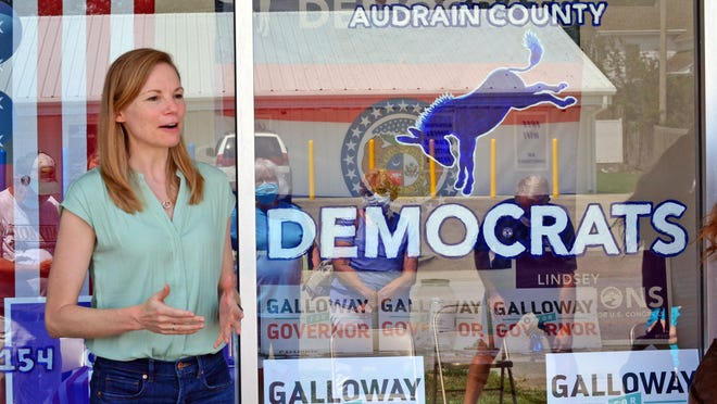 Democratic candidate for governor Nicole Galloway speaks Wednesday at the opening of the Audrain County Democrats' headquarters in Mexico. She pushed for a statewide mask mandate, and a better statewide plan for reopening schools.