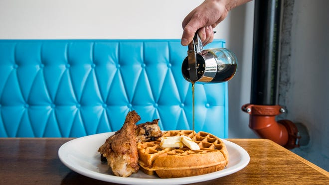 The dark meat heirloom fried chicken with the cracklin waffle at King Daddy's Chicken and Waffle in West Asheville. 4/3/15