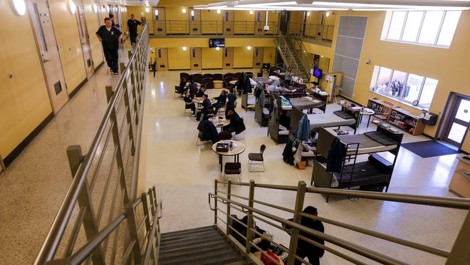 Due to temporary over crowding some cell houses have placed extra bunks outside of cells at the Iowa Correctional Institution for Women Friday, April 10, 2015.