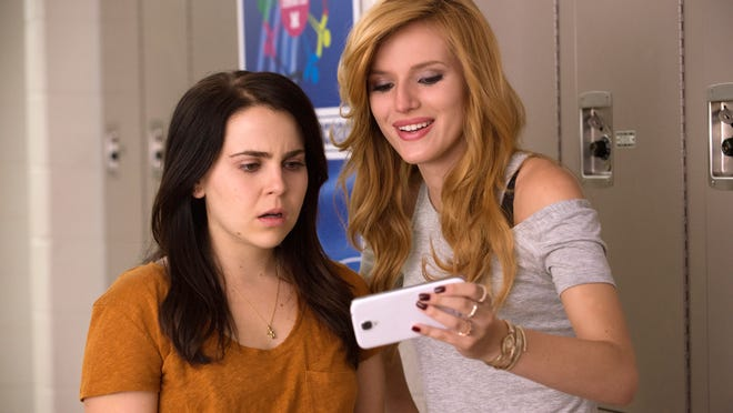 "Mae Whitman (left) and Bella Thorne appear in ""The DUFF."""