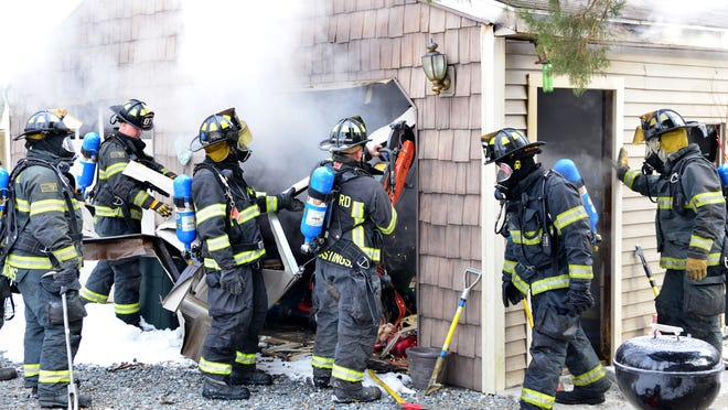 The Seaford Volunteer Fire Department battled this 2-car garage fire this morning on Lonesome Rd west of town. The Blades and Bridgeville fire companies assisted Seaford crews. The garage was a total loss. An 11yr old dog was rescued from inside the fire and transported to a local vet for treatment. Wayne Barrall photo