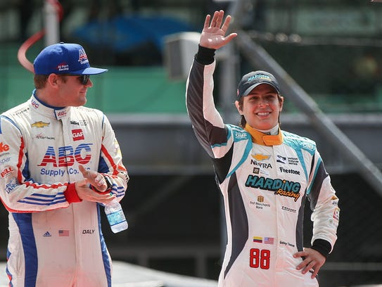 Harding Racing driver Gabby Chaves, right, blew away