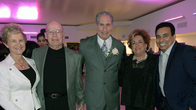From left: Honorees and donors Bernie Paradis, Hal Paradis, state Sen. Jeff Stone, Claudette Pais and Nachhattar Chandi.