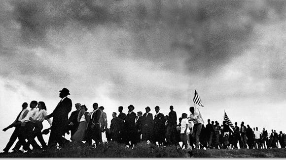 Marchers make the trek from Selma to Montgomery in March 1965.