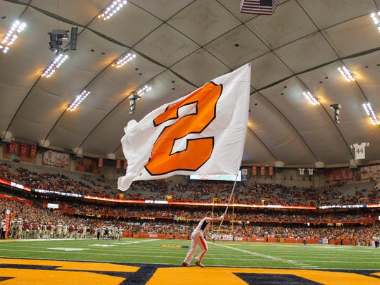 A view of the interior of the Carrier Dome before of an NCAA college football game against Florida State in Syracuse, N.Y., Saturday, Nov. 19, 2016. (AP Photo/Nick Lisi)