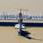 Aerial photos showing the towers on the Downtown Crossing of the Ohio River Bridges Project.
