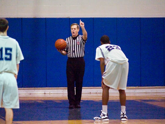 Dan Shepardson referees the Burlington High School