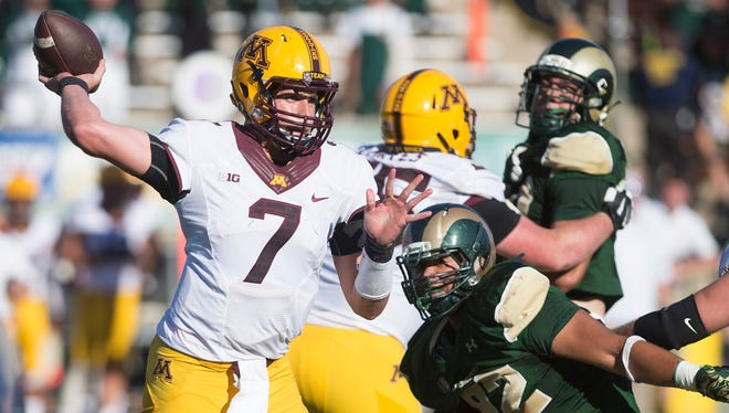 Minnesota quarterback Mitch Leidner looks for an open receiver during the Gophers' game against CSU on Sept. 12, 2015, at Hughes Stadium. The teams will meet again Sept. 24 in Minneapolis, and ESPNU will televise the contest nationally.