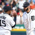 Erick Aybar #15 and J.D. Martinez #28 of the Detroit Tigers celebrate a win over the Boston Red Sox on August 18, 2016 at Comerica Park in Detroit, Michigan. The Tigers defeated the Red Sox 4-3.