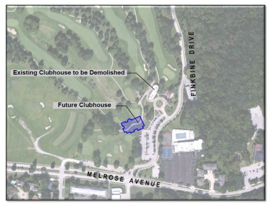 This map shows the proposed location of a new clubhouse
