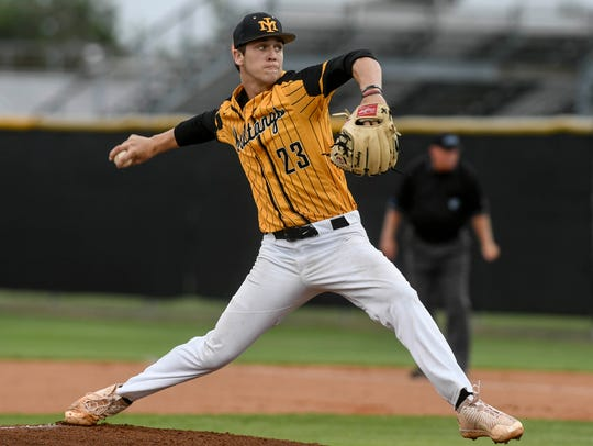 Mason Denaburg of Merritt Island pitches during the