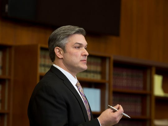 Attorney Paul Tylenda speaks to the jury Monday, April 2, 2018, during a hearing in the case against his client Kevin Beverly in Washtenaw Country Trial Court in Ann Arbor.