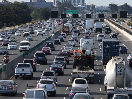Traffic makes its way along Interstate 80  in San Francisco