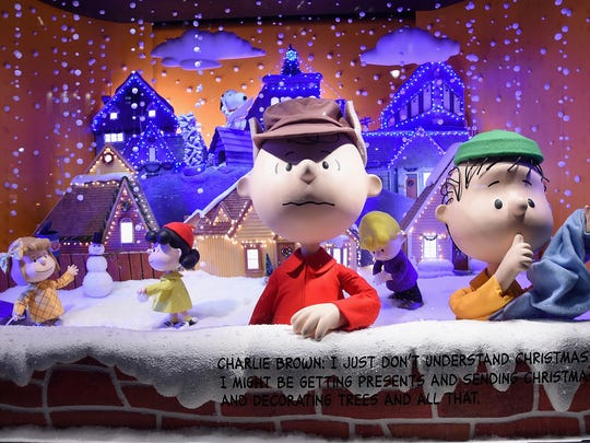 A Peanuts inspired Christmas window at  Macy's Herald