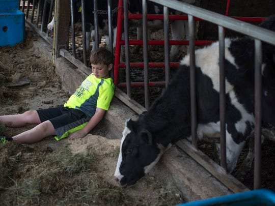 Brycen Aukema, then 8, sits next to a cow pen at the Aukema Dairy Farm in 2016.