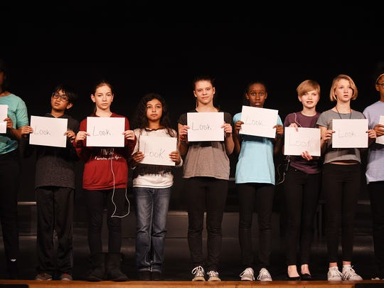 """East Middle School students rehearse """"All I Really Need to Know I Learned in Kindergarten."""""""