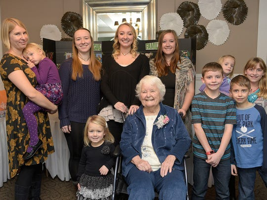 Ruth Sprague with her great-grandchildren at a Friday