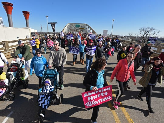 Louisiana Life March North supporters cross the Texas