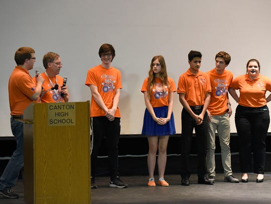 Team 862 officials introduce the drive team.