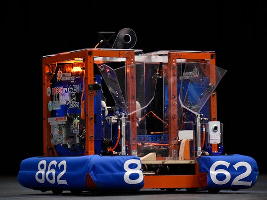 FIRST LIghtning Robotics Team 862 unveils the 2017 competition robot, Valkyrie.