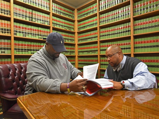 Probation officers LaMarcus Williams (left) and Sebastian Edwards at the Caddo Parish Juvenile Court.