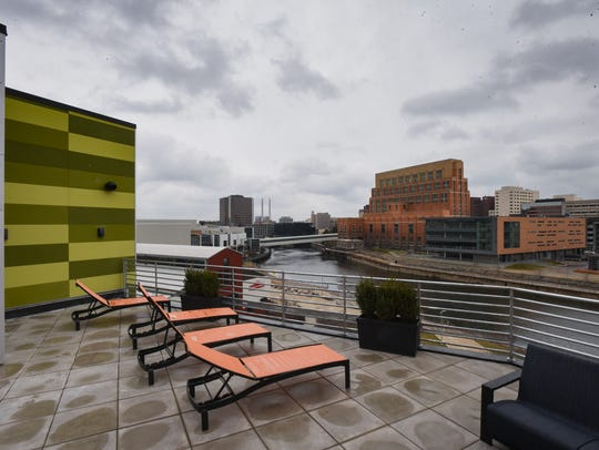 The rooftop patio of Marketplace Apartments, at 313