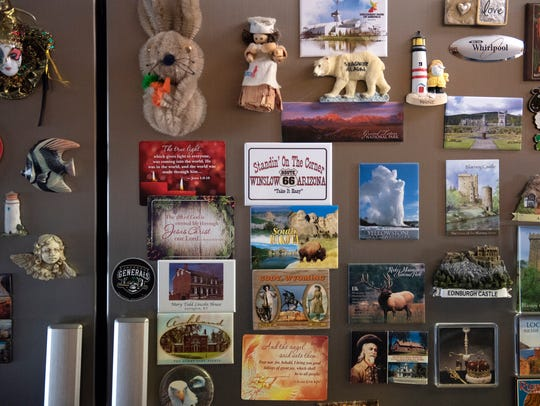 Dozens of magnets from Harold and Sandra's travels