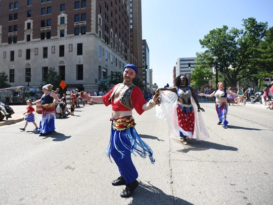 The Habibi Dancers perform during the Lansing Fourth