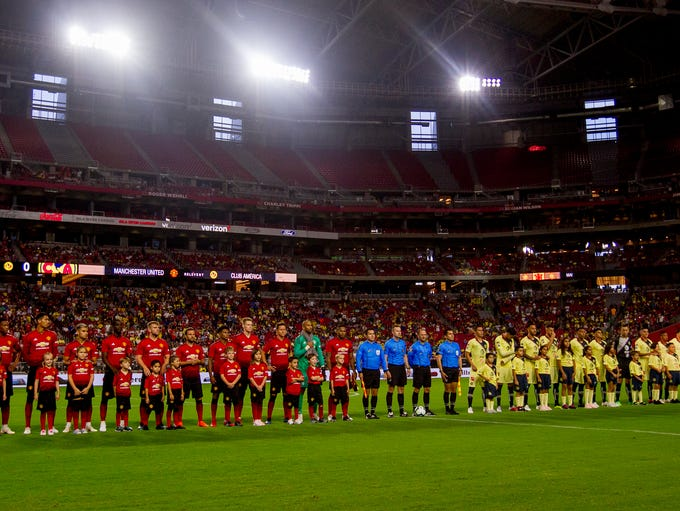 Manchester United and Club America take the field for